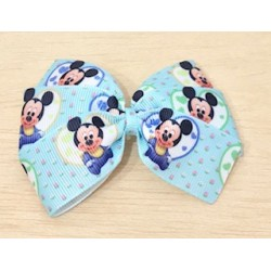 LAZO VERDE AGUA MICKEY MOUSE BABY FLORES